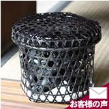 黒編み六ツ目竹炭かご