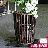 小田光陽作 黒竹花かご